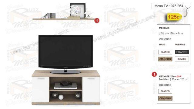 MESA TV 1075 DE ALTO 52 x ANCHO 120 x FONDO 40