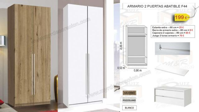 ARMARIO 2 PUERTAS ABATIBLES 90 CM X 235 CM