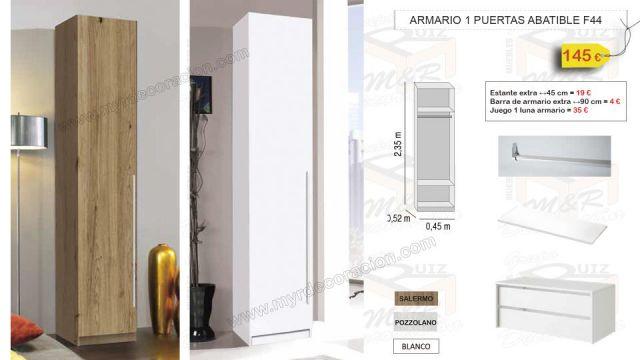ARMARIO 1 PUERTAS ABATIBLES 45 CM X 235 CM