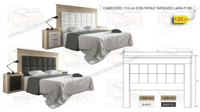 CABECERO 174 CM CON PATAS TAPIZADO LARA