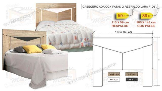 CABECERO ADA DE 160 CM O 110 CM LARA 2 COLORES