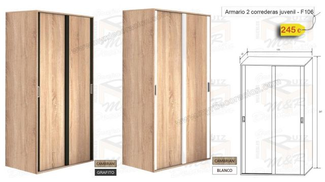 ARMARIO 2/P CORREDERA JUVENIL 120 CM X 207 CM ALTO