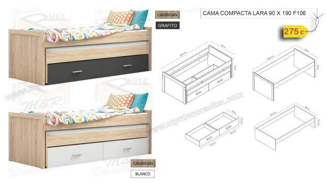 CAMA COMPACTA LARA DE 90 X 190 EN 2 COLORES