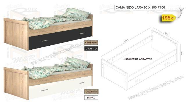 CAMA NIDO LARA DE 90 X 190 EN 2 COLORES
