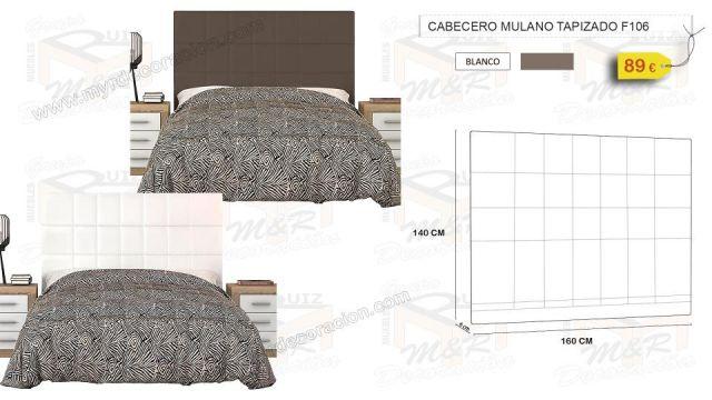 CABECERO MULANO TAPIZADO POLIPIEL 160 CM 2 COLORES
