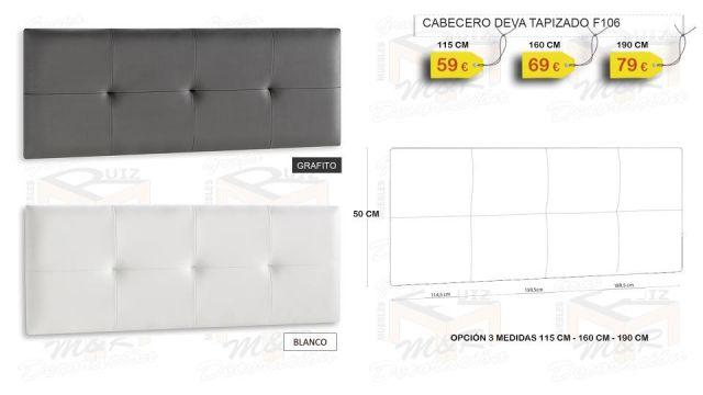 CABECERO DEVA TAPIZADO POLIPIEL 115 - 160 - 190 CM