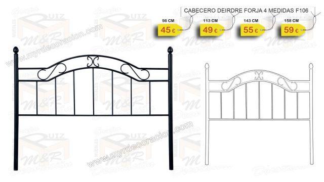 CABECERO DEIRDRE FORJA NEGRO 90 - 105 -135 Y 150