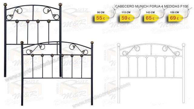 CABECERO MUNICH FORJA NEGRO 90 - 105 -135 Y 150