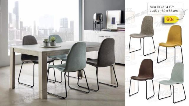 SILLA DC-104 PATA METALICA 4 COLORES ANTIMANCHAS