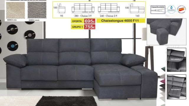 CHAISELONGUE 4600 EXTENSIBLE RECLINABLE +2 PUFF